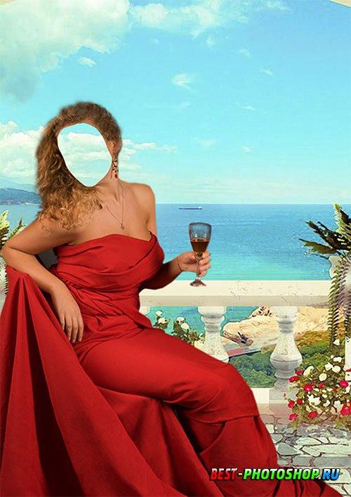 Костюм для фотомонтажа - В красном платье с бокалом вина на фоне моря