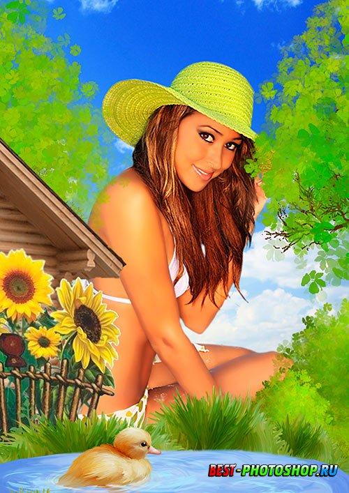 Летняя рамка psd для фотошопа - Лето в деревне