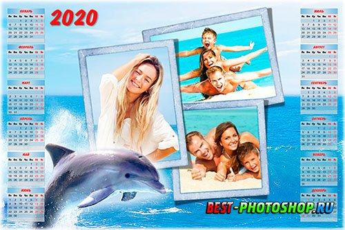 Календарь psd c рамкой для фотографий летнего отдыха - Море, лето, дельфины