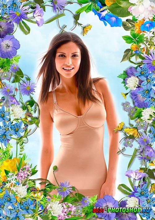 Рамка для фотошопа - Летняя цветочная композиция