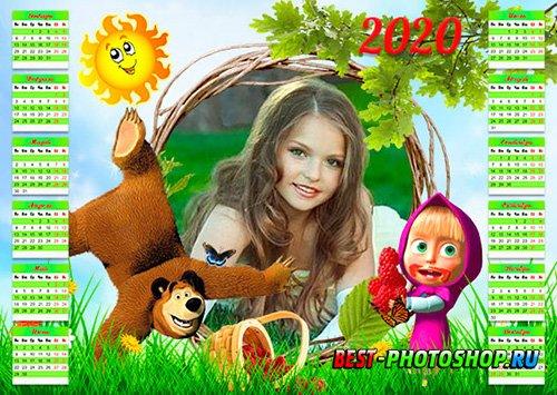 Календарь psd на 2019, 2020 год - Лето с Машей и медведем
