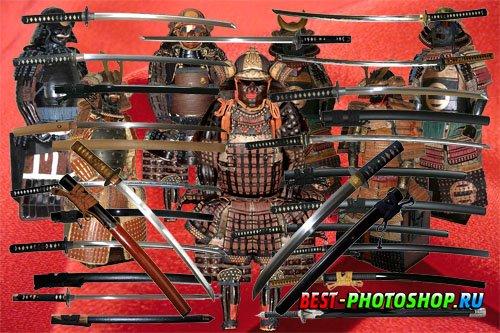 Клипарт Полные доспехи самураев и мечи