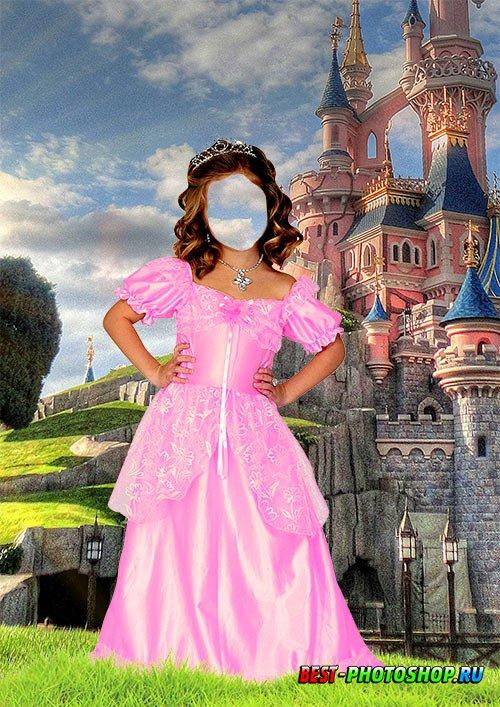 Детский шаблон для фотошопа - В костюме принцессы