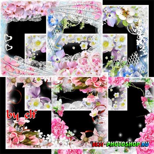 Набор цветочных фоторамок - Пусть цветов букеты падают к ногам