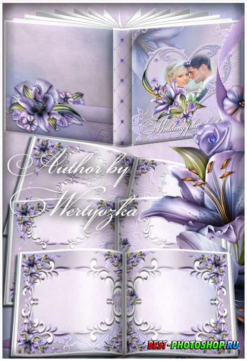 Beautiful photo album with lilies