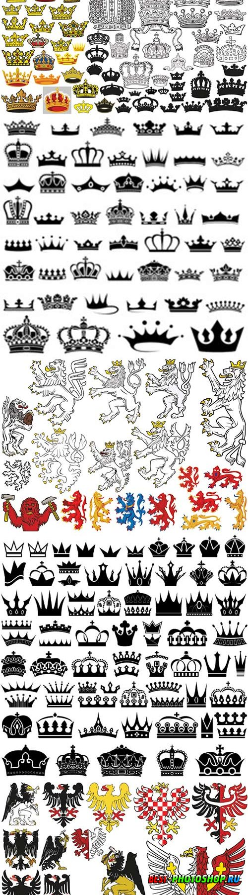 Big set of heraldic crowns in colored illustrations