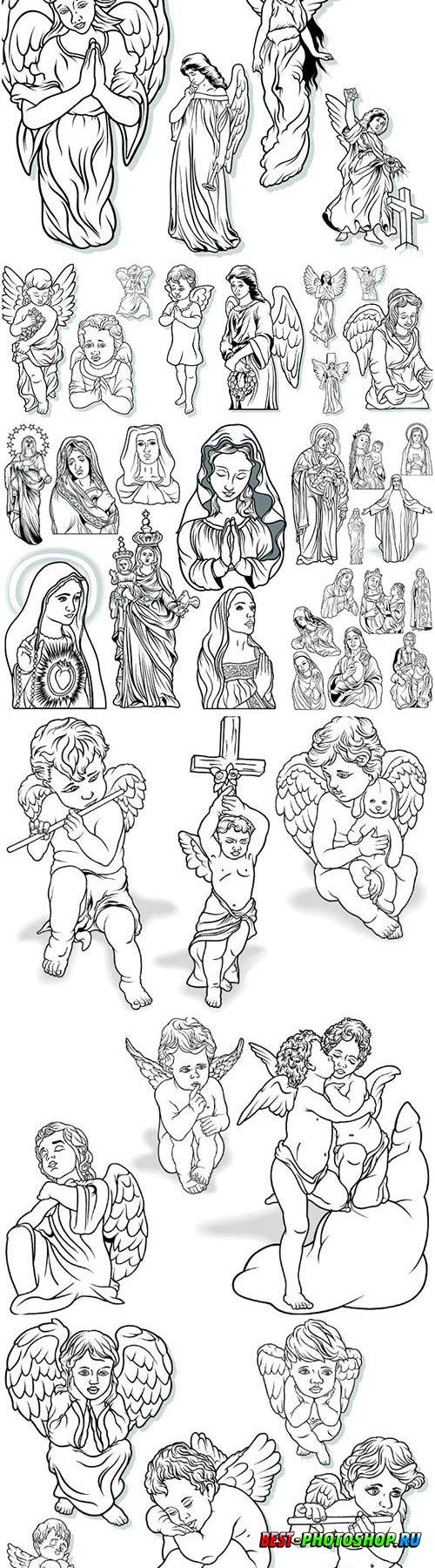 Angel set, Virgin Mary vector illustrations