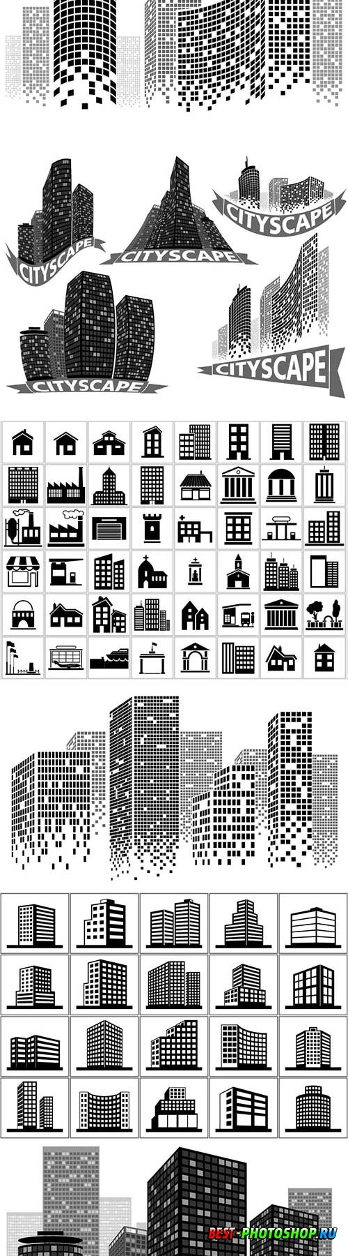 Cityscape set - buildings and city scene illustrations vector