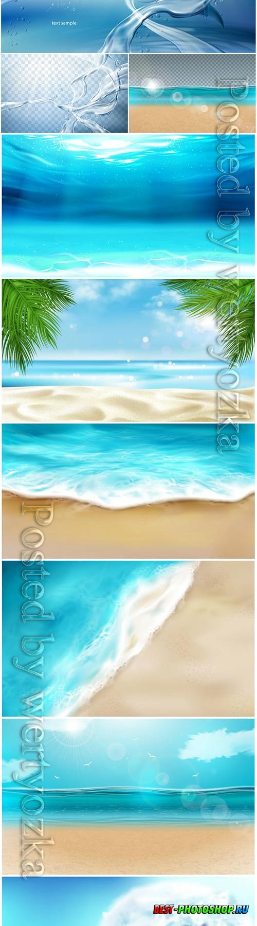 Sea wave with foam splashing on beach vector illustration