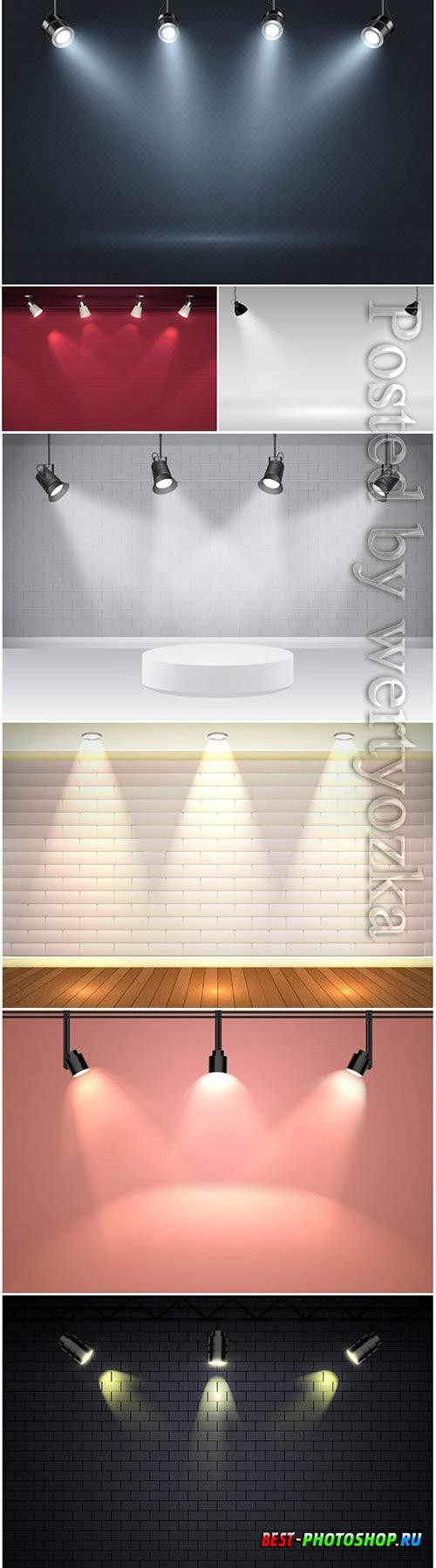 Spot lights background vector illustration
