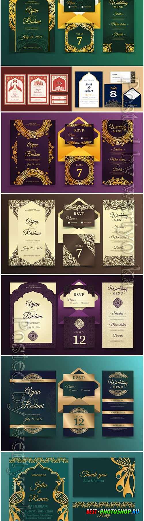 Elegant indian wedding stationery templates vector illustration