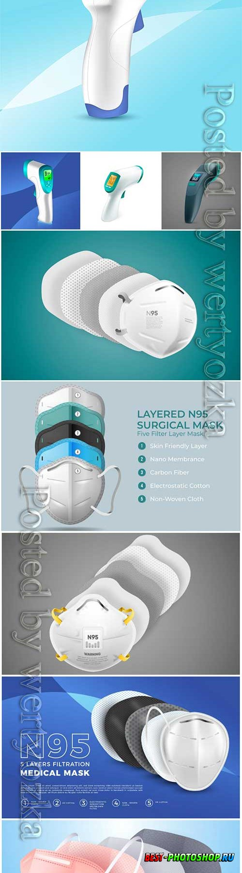 Realistic non-contact infrared thermometer, layered n95 surgical mask vector illustration