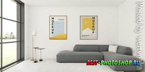 Minimalist interior arrangement with frames mock-up