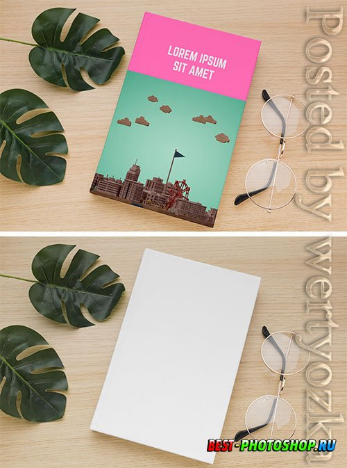 Book cover arrangement with glasses