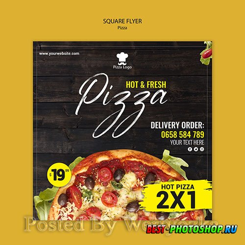 Pizza restaurant square flyer