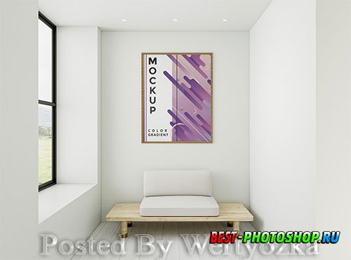 Front view minimalist home arrangement with frame mock-up