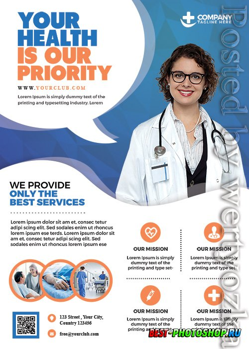 Health and Hospital Business - Premium flyer psd template