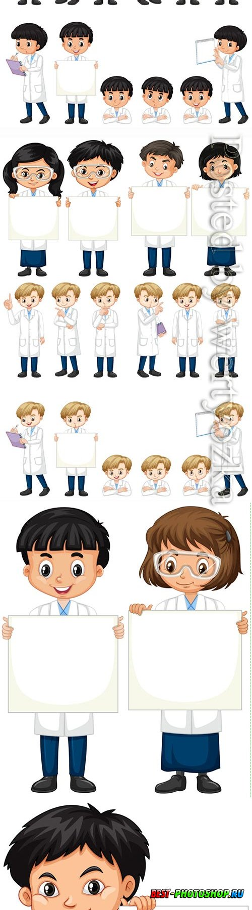 Boys and girls with posters on a white vector background