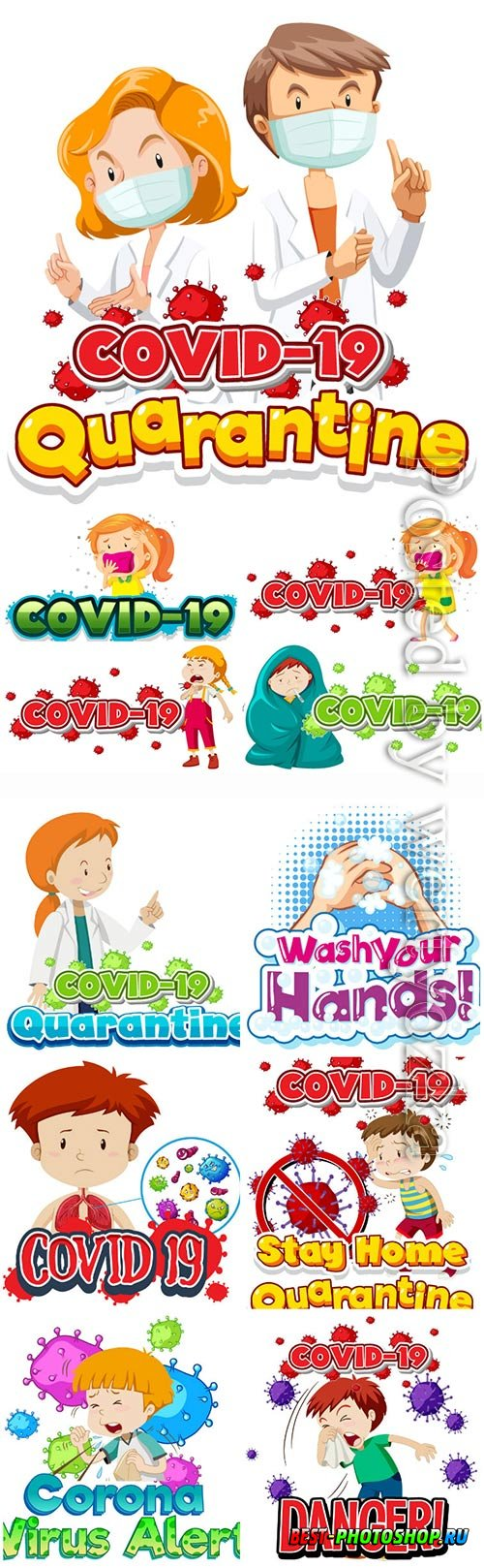 COVID 19, Coranavirus vector illustration sets # 17