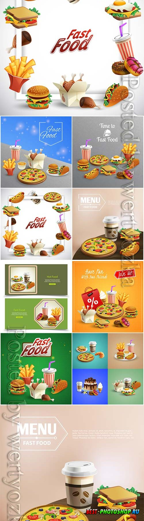 Fast food isometric element vector collection