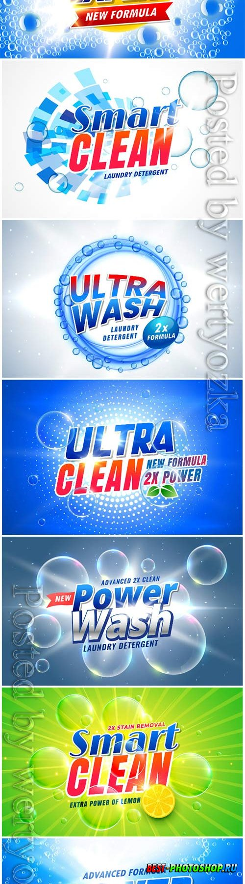 Vector posters of cleaning products in vector, washing powders