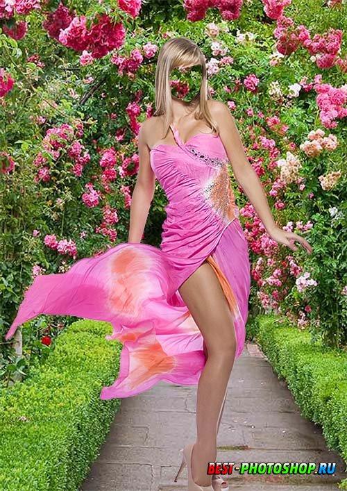 Шаблон psd - В розовом платье