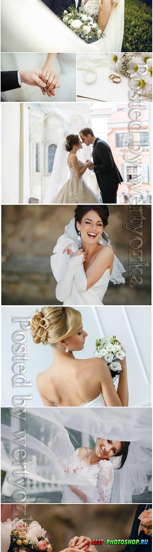 Bride and groom wedding stock photo