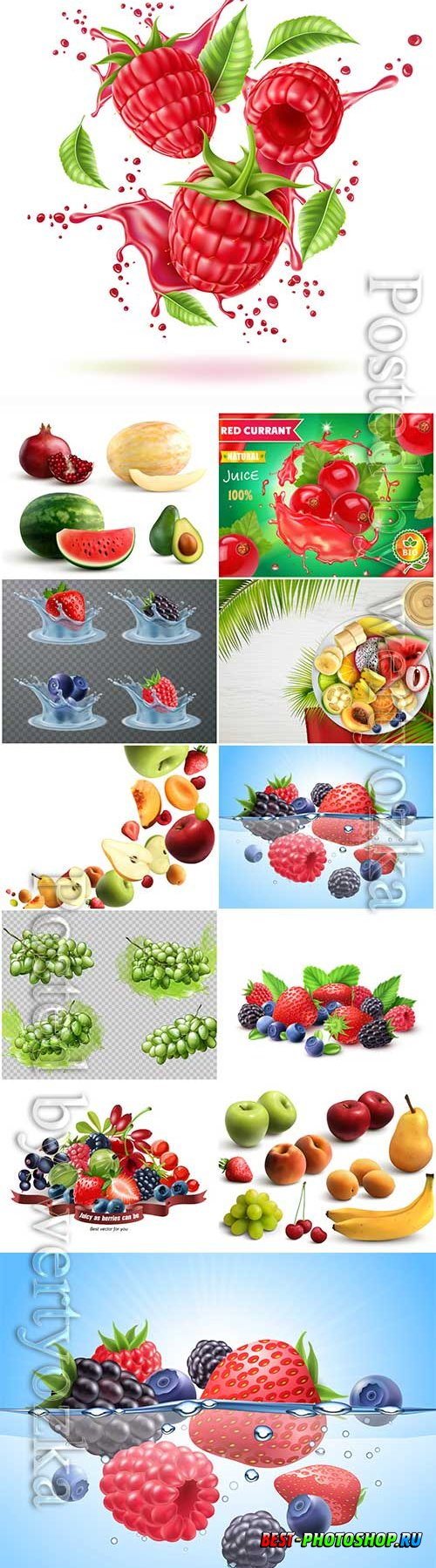 Mix of fresh berries and fruits isolated on white background