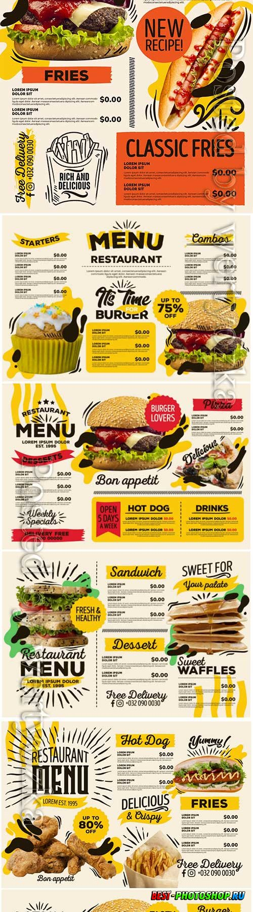Digital restaurant menu fast food delivery