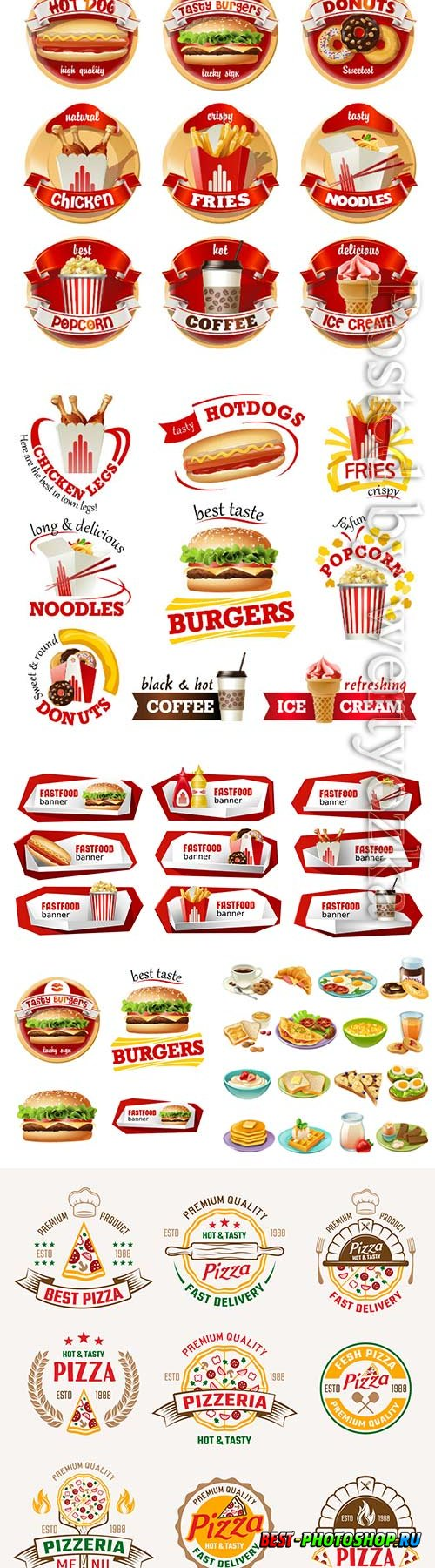 Vector set fast food logos stickers