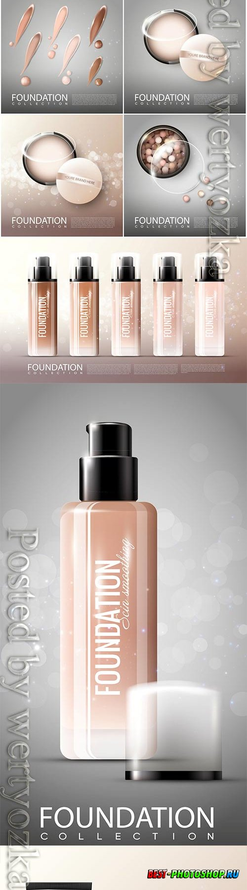 Realistic cosmetic products advertising vector template 2