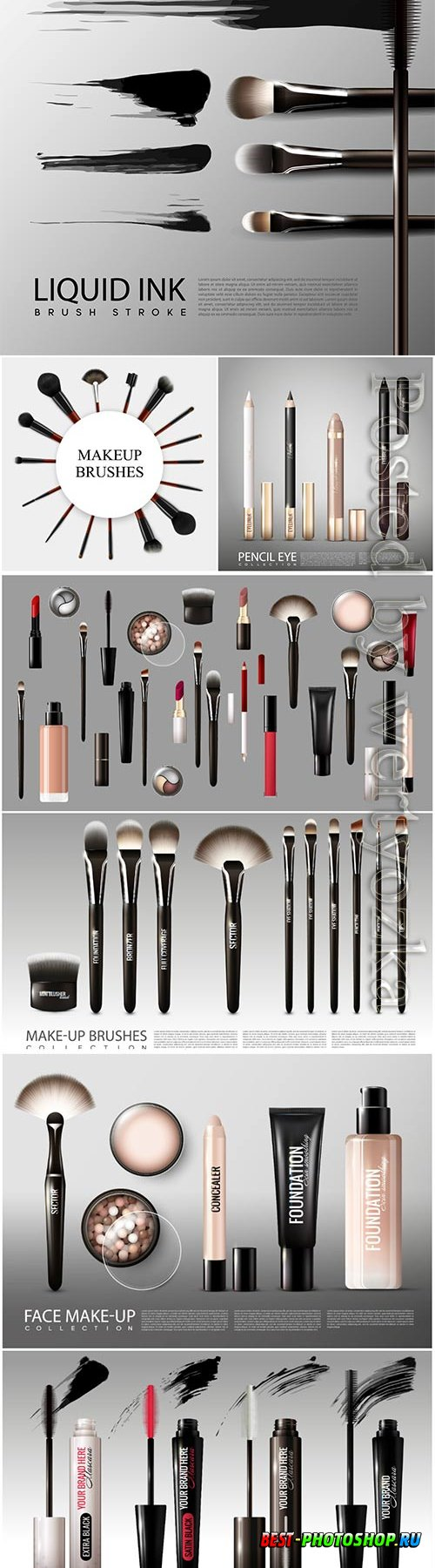 Realistic professional cosmetic tools set