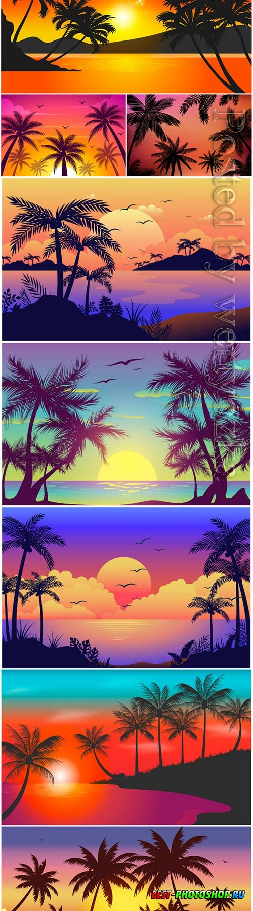 Colorful palm silhouettes wallpaper concept vector design
