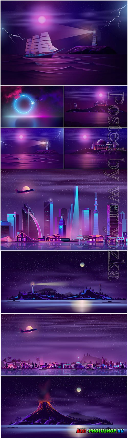 Seashore neon background realistic vector design
