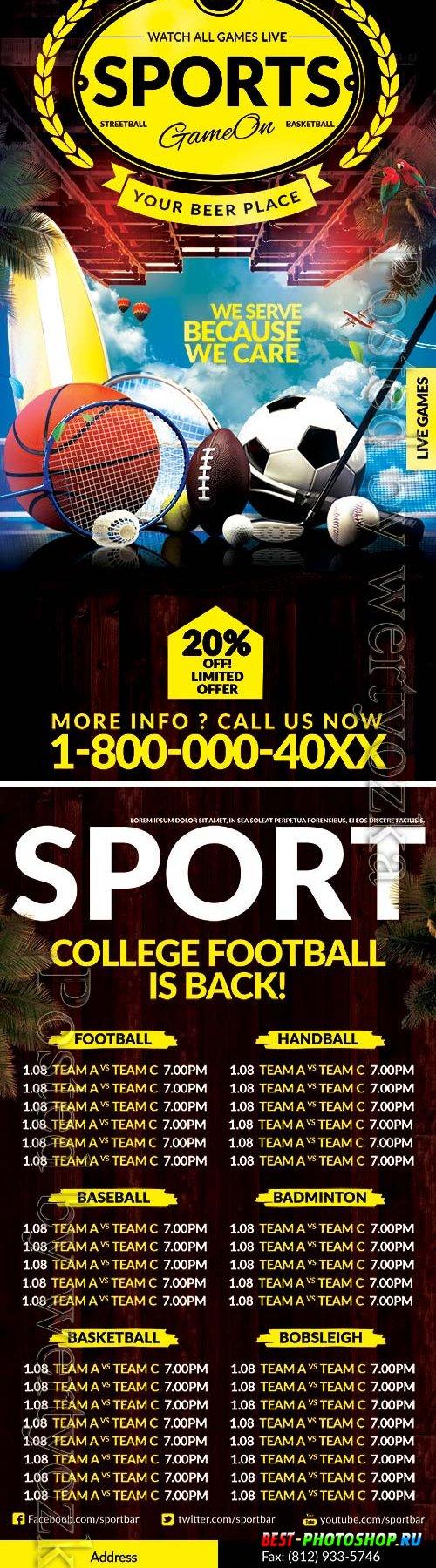 Sport events front dl flyer