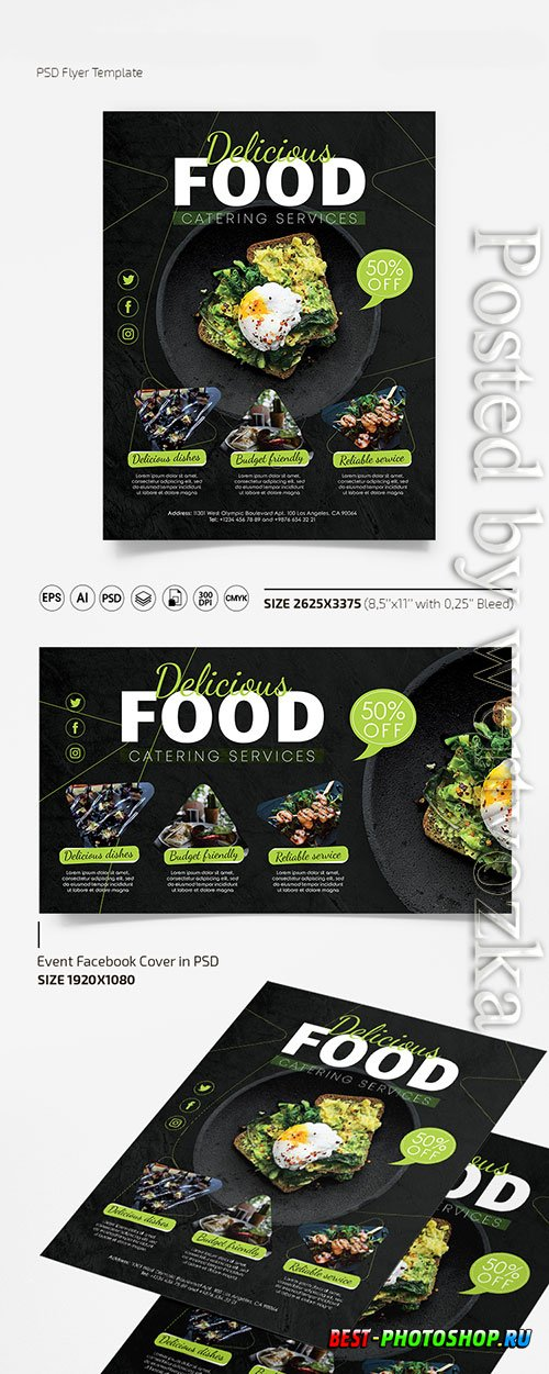 Catering services flyer in psd