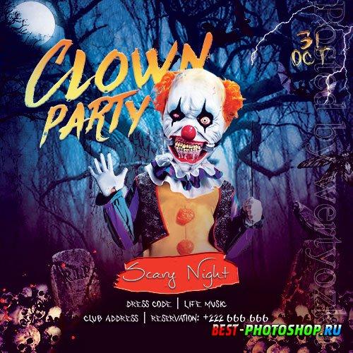 Clown Party Flyer PSD Template