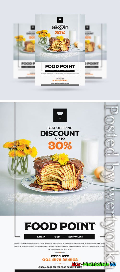 Modern Food Flyer Design Psd  Template