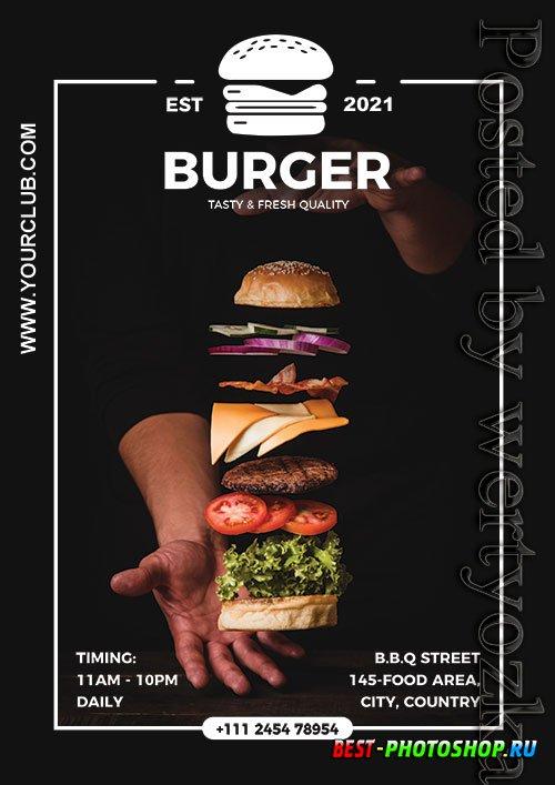 Burger Restaurant Poster Design Psd Template