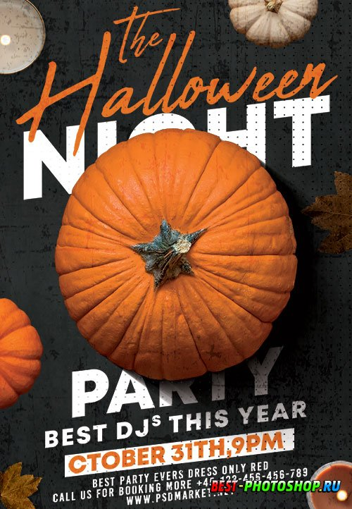 Halloween night flyer psd