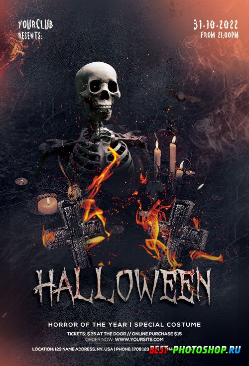 Halloween Fright Night Party - Premium flyer psd template