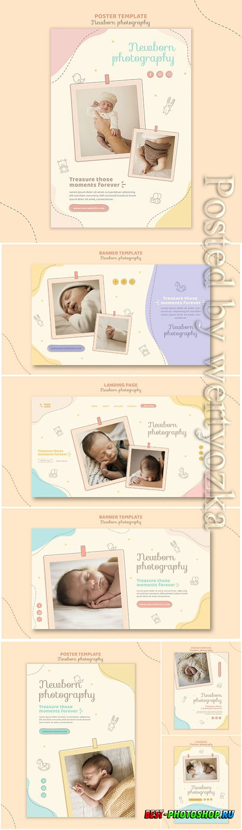 Cute sleeping baby banner template psd