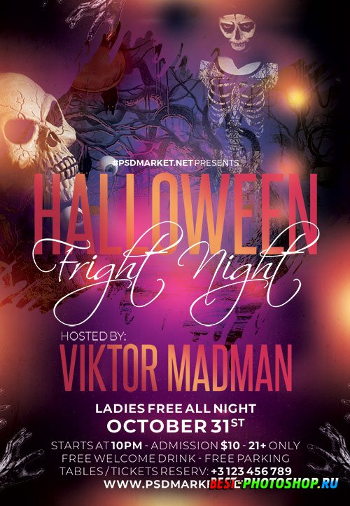 Halloween fright flyer psd