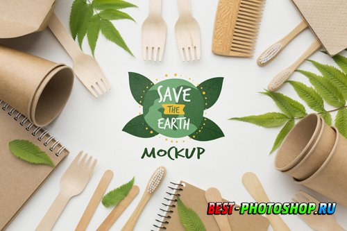 Top view eco paper objects