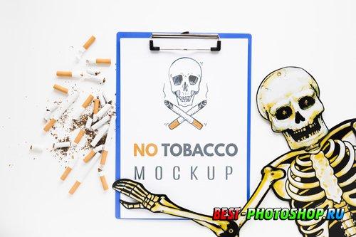 No smoking mock-up with skeleton