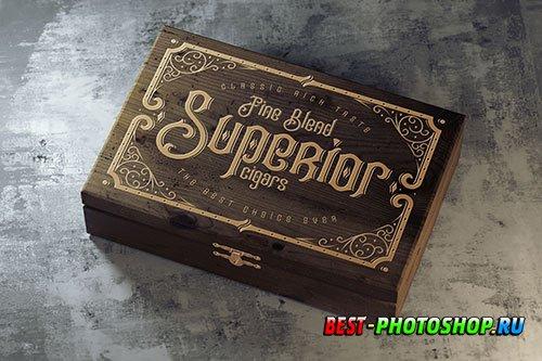 Vintage wooden box mockup on a concrete floor