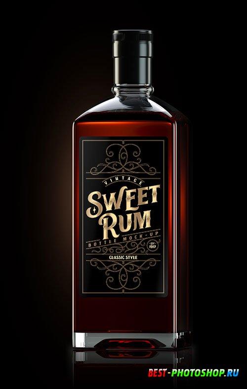 Square dark rum bottle mockup with label 2