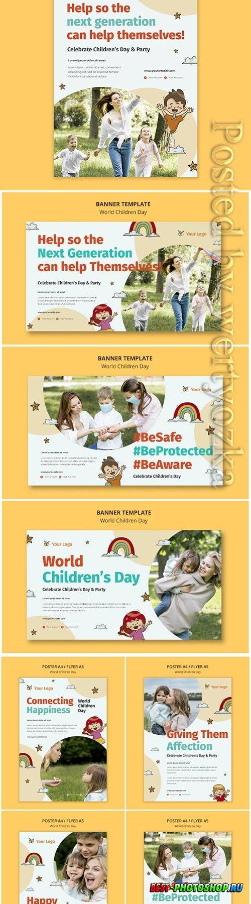 World children day flyer template