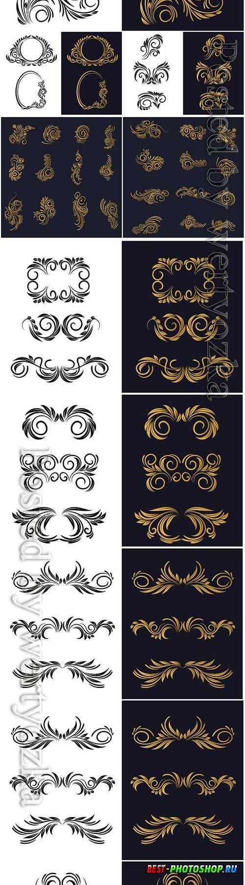 Elegant decorative ornamental floral decorative set design