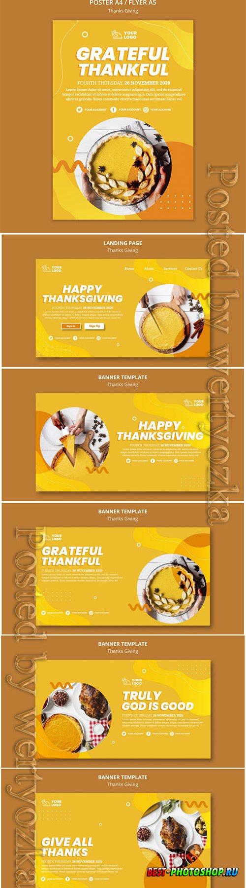 Thanksgiving concept flyer template